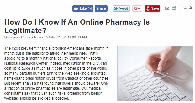 Consumer Reports Article on Legitimate Online Pharmacies
