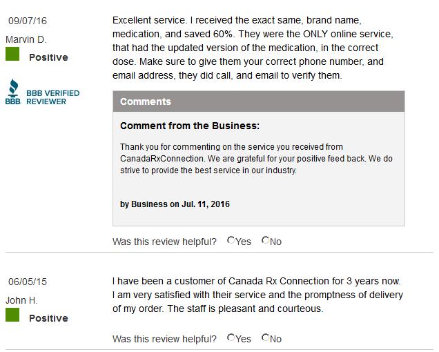 Canada Rx Shop customer reviews