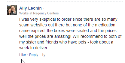 Discount Pet Medication User Testimonial (source: https://www