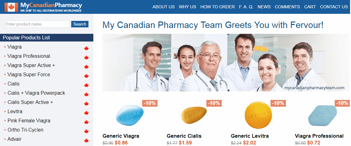 My Canadian Pharmacy Homepage