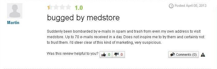 Another customer was not too pleased with the services offered by Medstore-online