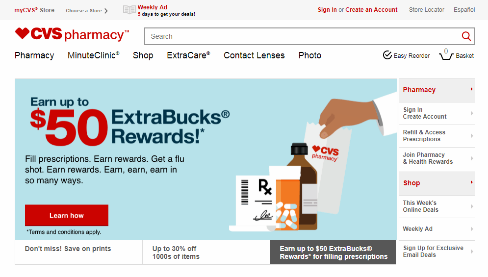 CVS Pharmacy Homepage