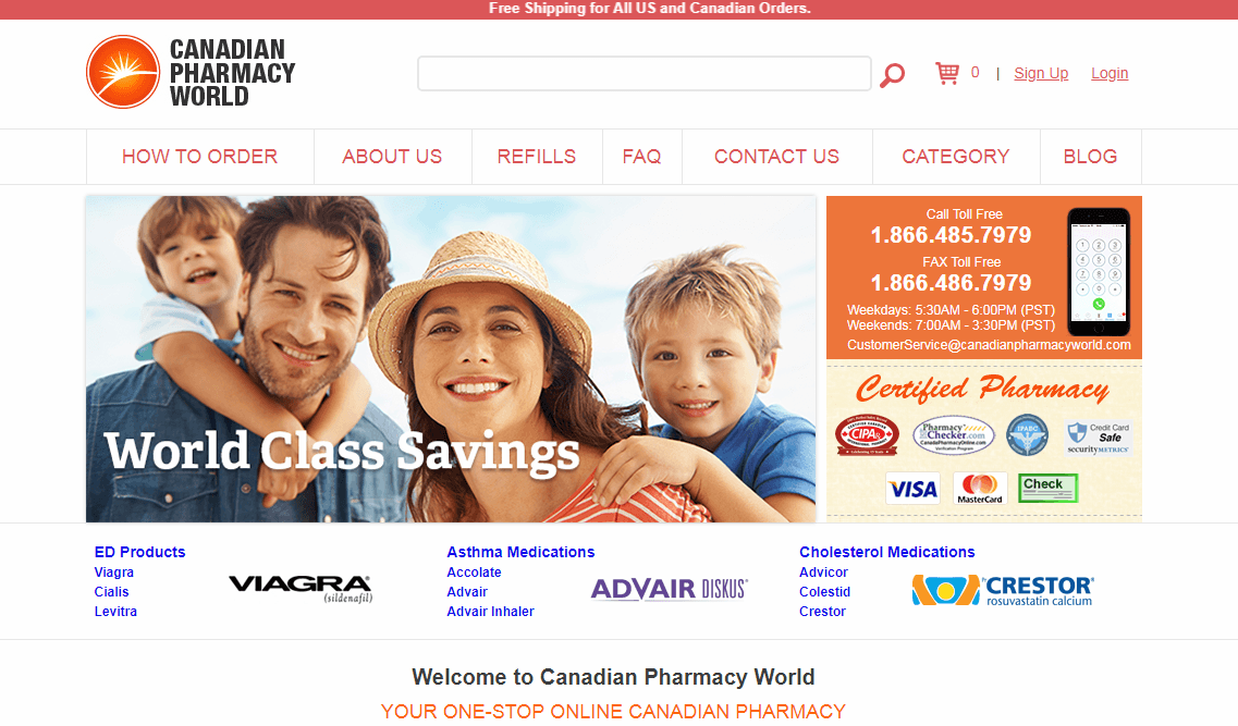 Canadian Pharmacy World Homepage