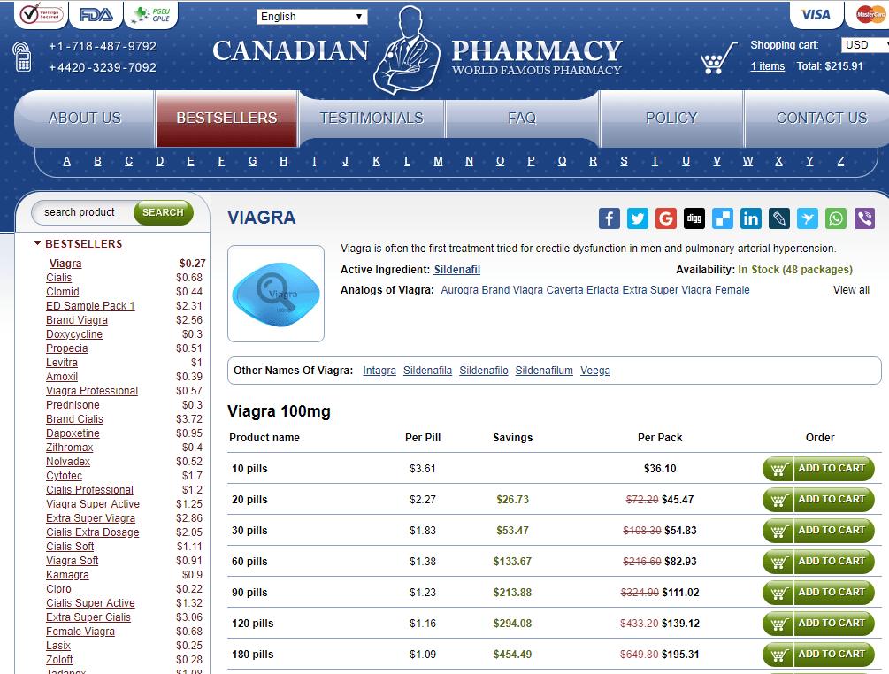 Canada-Based Pharmacy Selling Generic Viagra